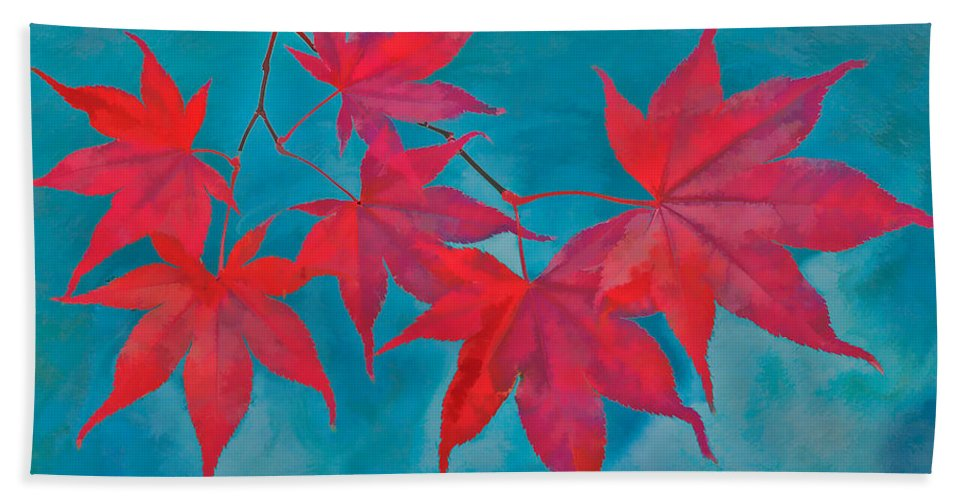 Maple Leaf Bath Sheet featuring the photograph Autumn Crimson by William Jobes