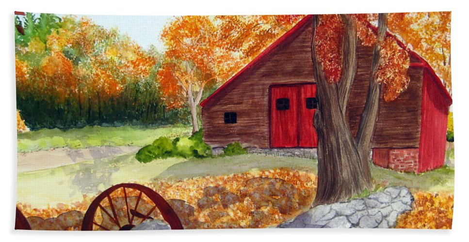 Barn Hand Towel featuring the painting Autumn Day by Julia RIETZ