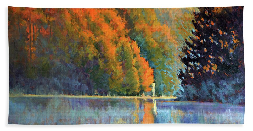 Impressionism Hand Towel featuring the painting Autumn Day Rising by Keith Burgess