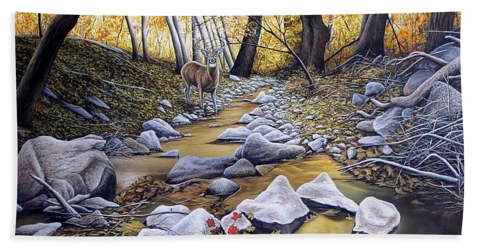 Deer Hand Towel featuring the painting Autumn Deer by Anthony J Padgett