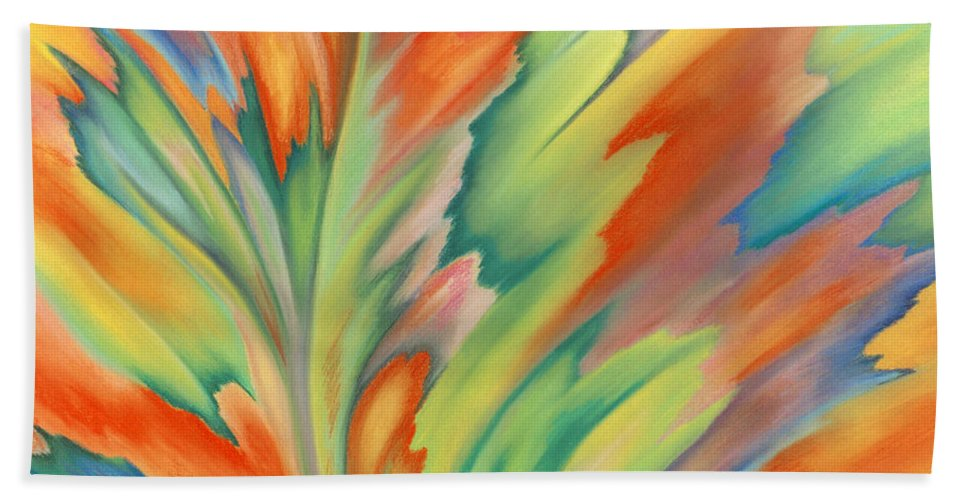 Abstract Bath Towel featuring the painting Autumn Flame by Lucy Arnold