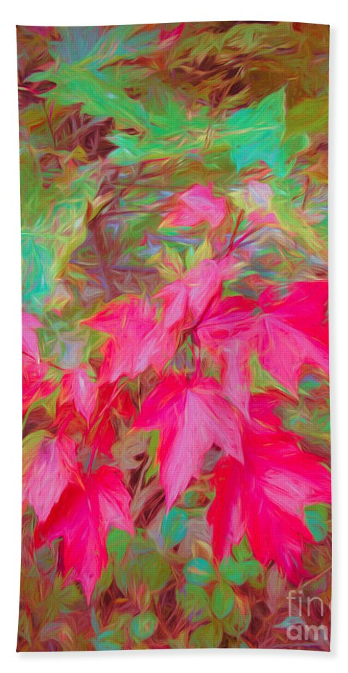Autumn Bath Towel featuring the mixed media Autumn Flame by Susan Lafleur
