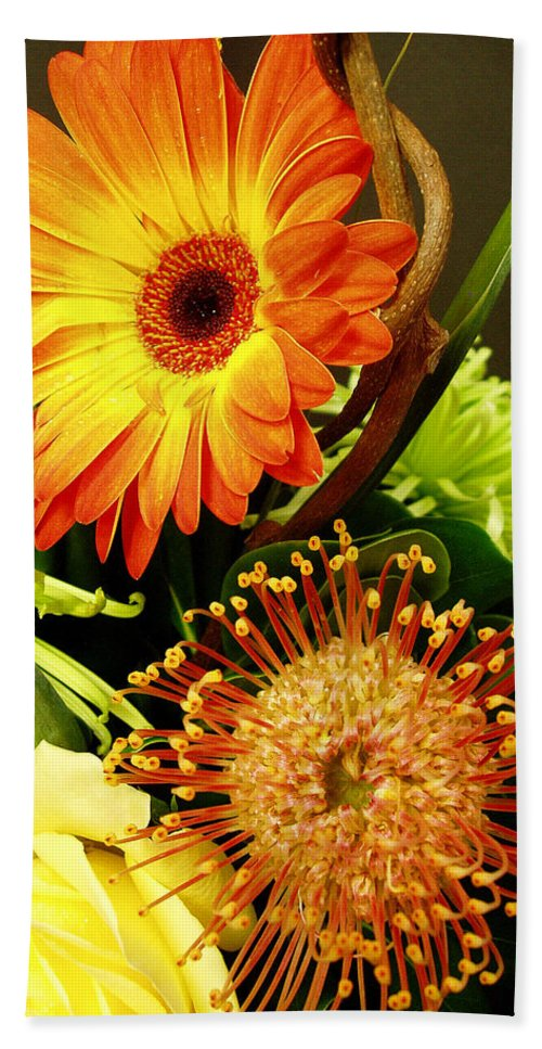 Autumn Bath Sheet featuring the photograph Autumn Flower Arrangement by Nancy Mueller