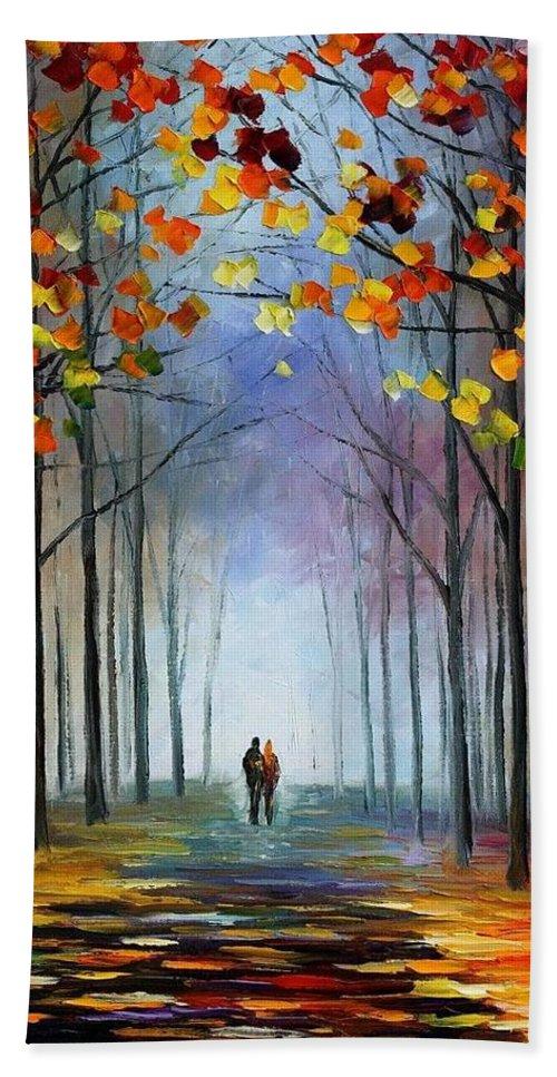 Afremov Bath Sheet featuring the painting Autumn Fog by Leonid Afremov