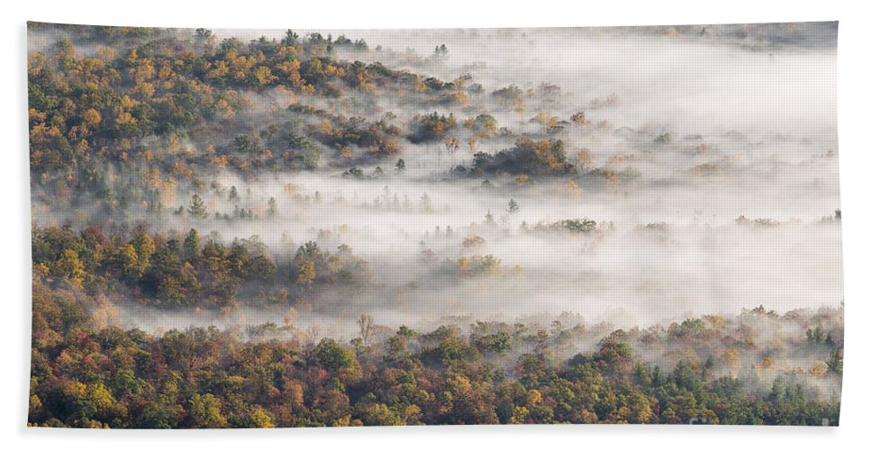 Fall Bath Sheet featuring the photograph Autumn Fog by Richard Sandford