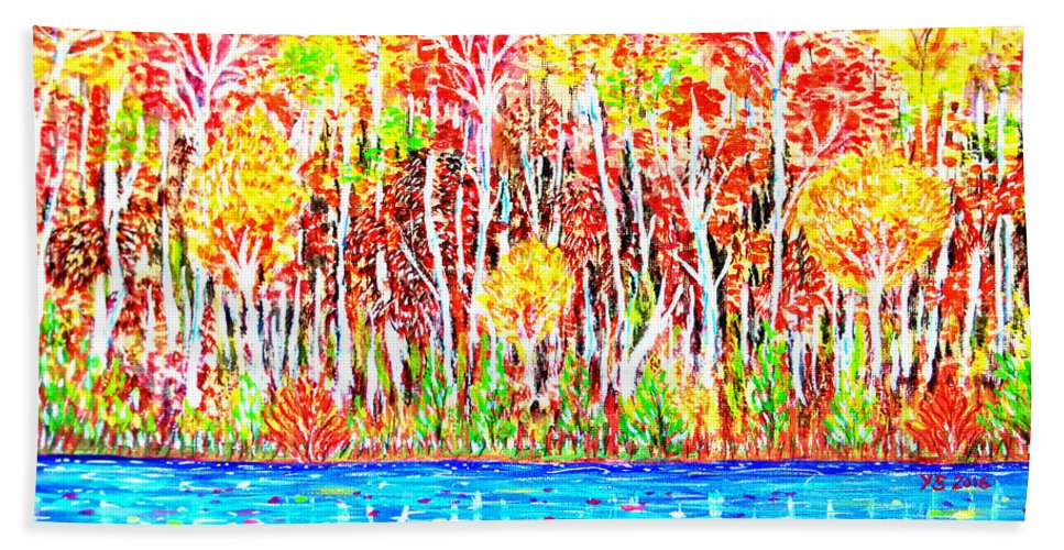 Artworks For Sale Online Bath Sheet featuring the painting Autumn Foliage by Yong-Shing Sin
