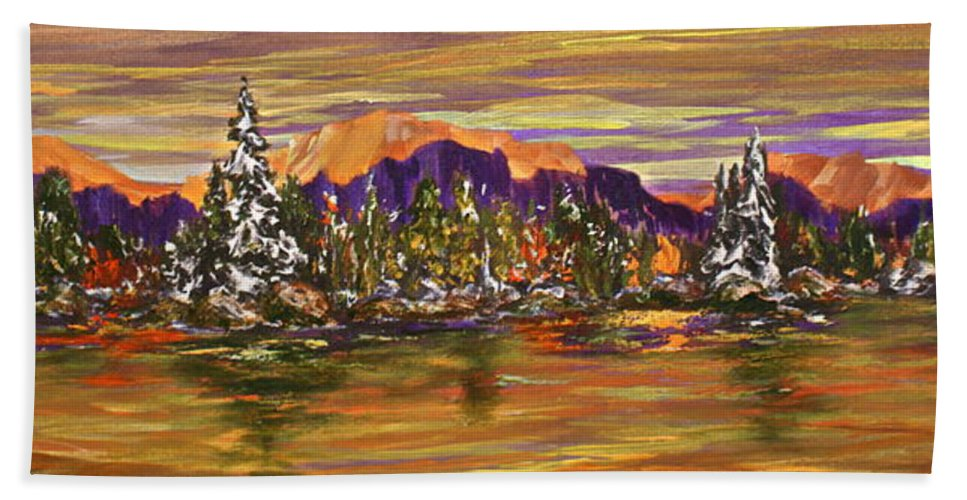 Lake Hand Towel featuring the painting Autumn Frost by Joanne Smoley