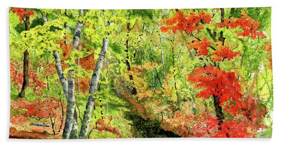 Autumn Bath Towel featuring the painting Autumn Fun by Mary Tuomi