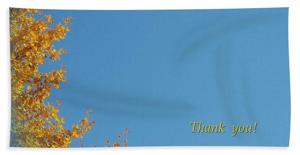 Autumn Leaves Bath Sheet featuring the photograph Autumn Ginkgo Tree by Eena Bo