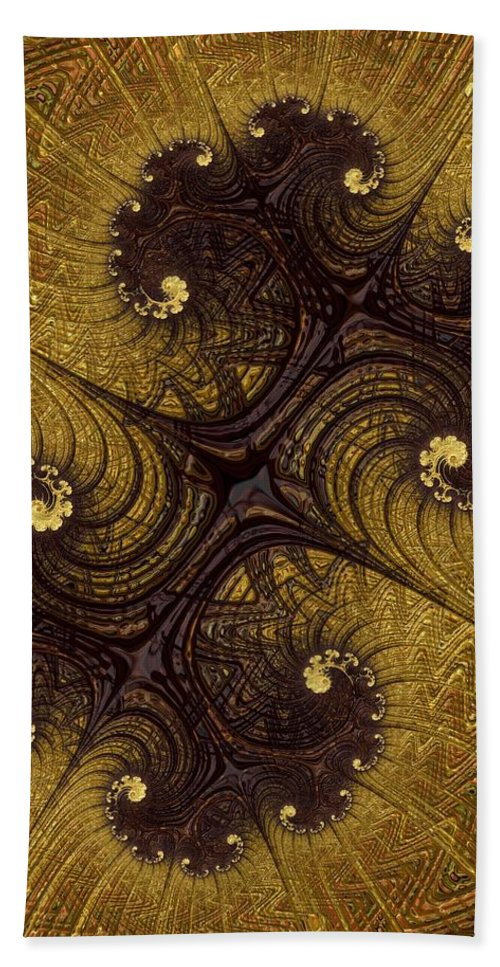 Fractal Bath Sheet featuring the digital art Autumn Glows In Gold by Diane Lindon Coy