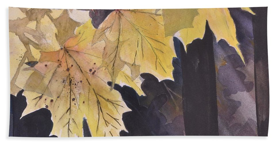 Autumn Gold Hand Towel featuring the painting Autumn Gold by Sally Rice