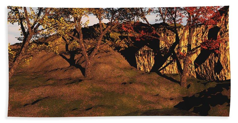 Autumn Hand Towel featuring the digital art Autumn Grove by David Lane