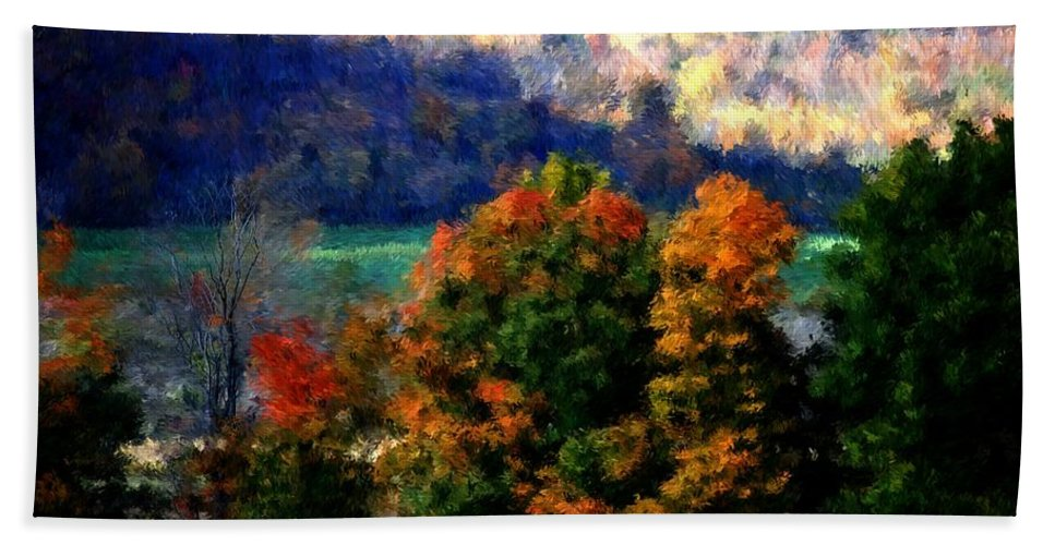 Digital Photograph Bath Sheet featuring the photograph Autumn Hedgerow by David Lane