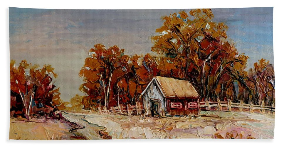 Autumn House By The Stream Bath Towel featuring the painting Autumn House By The Stream by Carole Spandau