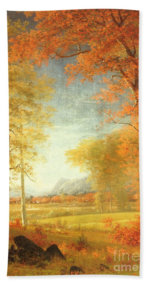 Albert Bath Sheet featuring the painting Autumn In America by Albert Bierstadt