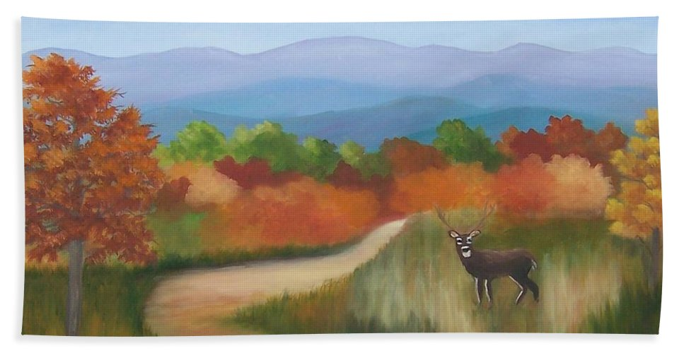 Mountains Hand Towel featuring the painting Autumn In Blue Ridge Mountains Virginia by Ruth Housley