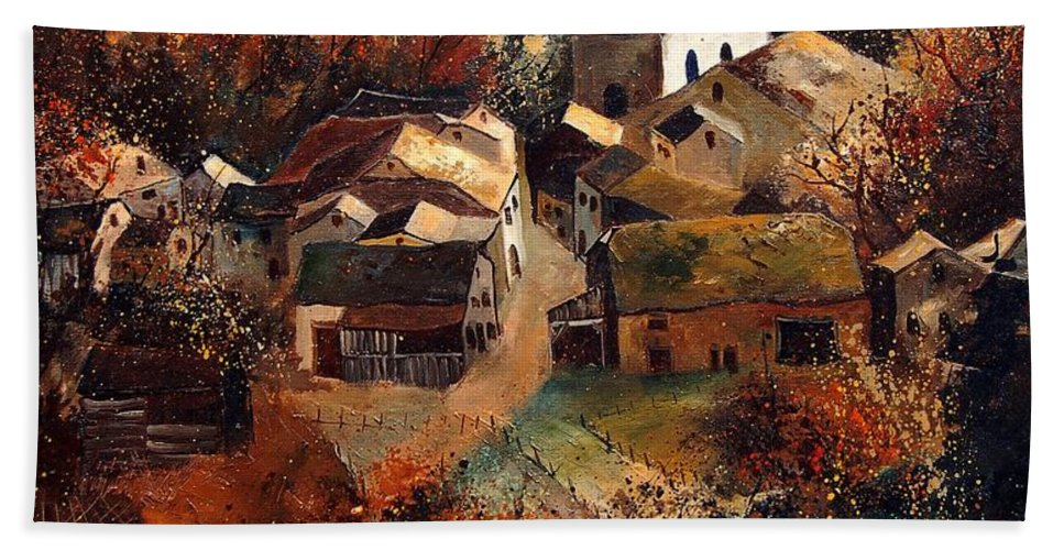 Tree Hand Towel featuring the painting Autumn In Frahan by Pol Ledent
