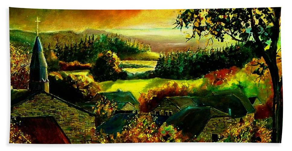 Landscape Bath Towel featuring the painting Autumn In Our Village Ardennes by Pol Ledent