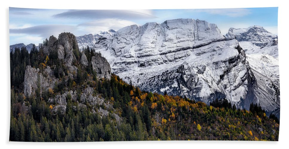 Mountians Hand Towel featuring the photograph Autumn In Switzerland by Nedjat Nuhi