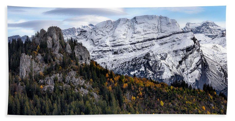 Mountians Bath Towel featuring the photograph Autumn In Switzerland by Nedjat Nuhi