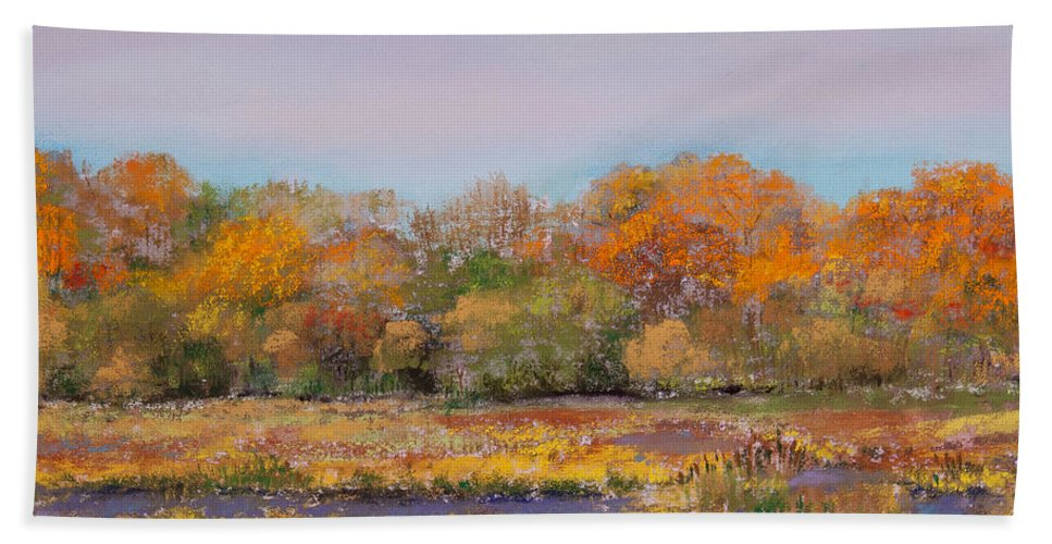 Autumn In The Adirondack Mountains Bath Sheet featuring the painting Autumn In The Adirondack Mountains by David Patterson