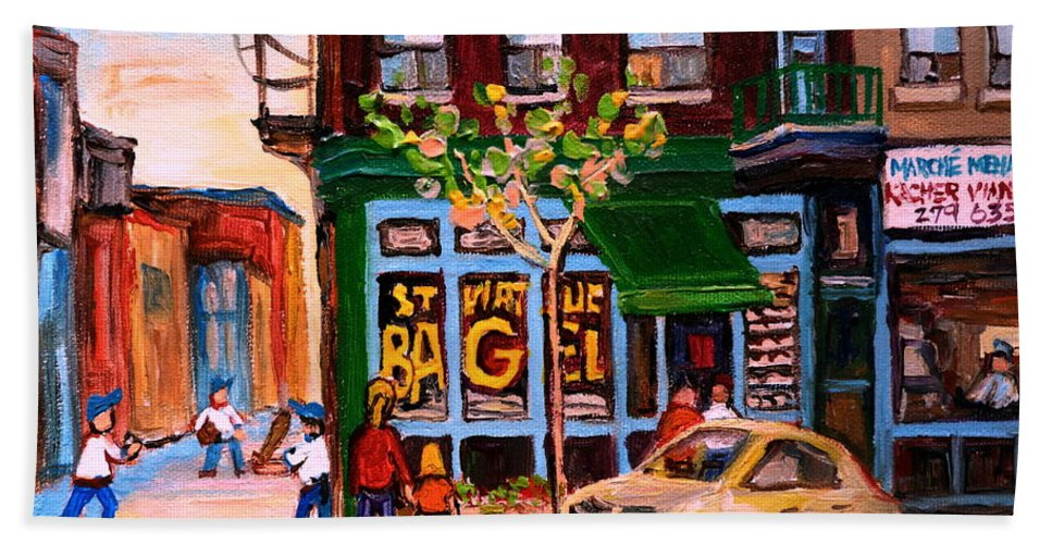 St.viateur Bagel Bath Towel featuring the painting Autumn In The City by Carole Spandau