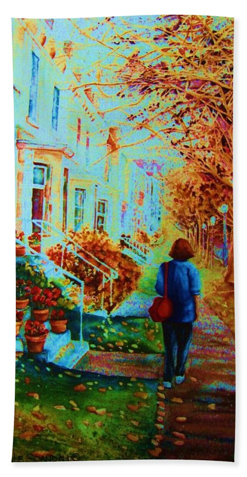 Montreal Hand Towel featuring the painting Autumn In Westmount by Carole Spandau