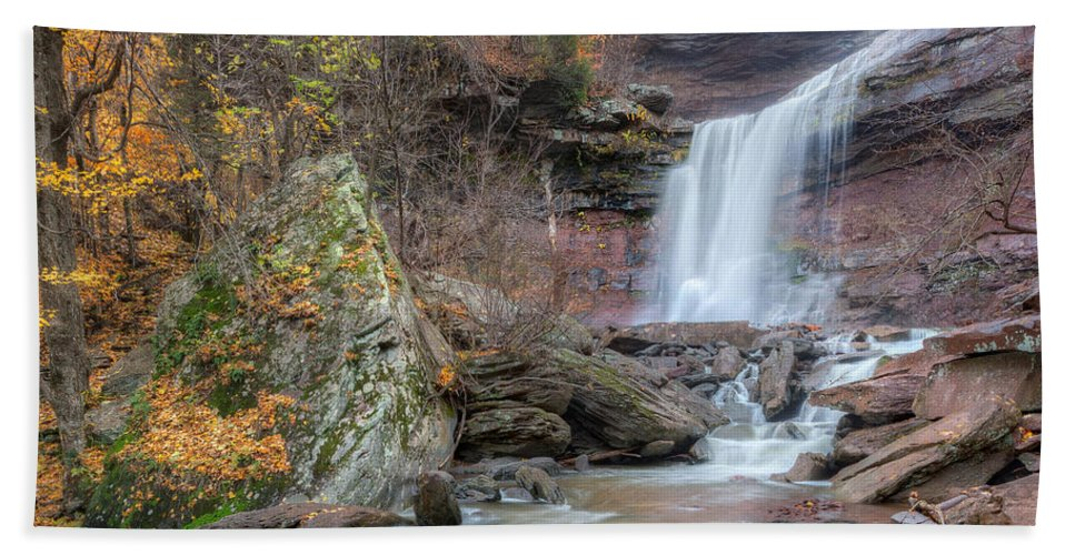 Kaaterskill Clove Bath Sheet featuring the photograph Autumn Kaaterskill Falls Square by Bill Wakeley