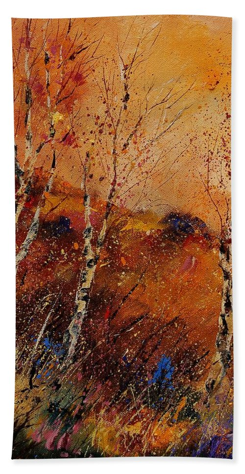 Tree Hand Towel featuring the painting Autumn Landscape 45 by Pol Ledent
