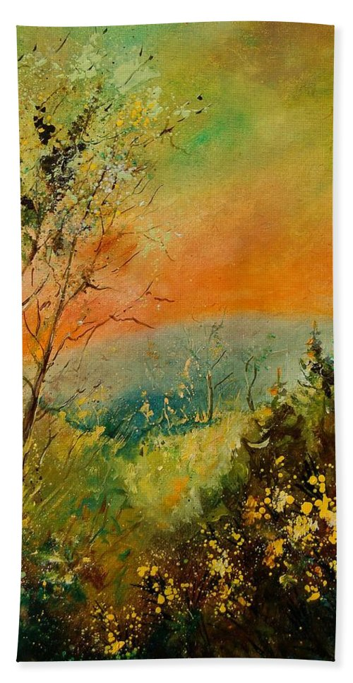 Tree Hand Towel featuring the painting Autumn Landscape 5698 by Pol Ledent