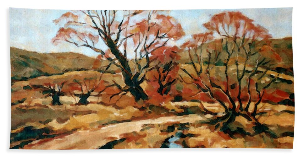 Landscape Hand Towel featuring the painting Autumn Landscape by Iliyan Bozhanov
