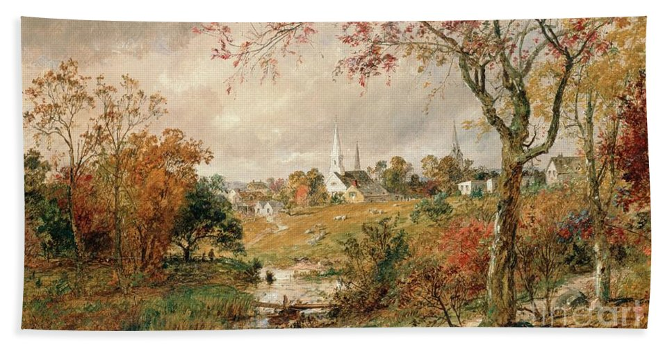 Autumn Landscape Hand Towel featuring the painting Autumn Landscape by Jasper Francis Cropsey