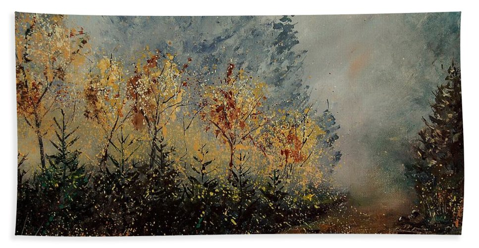 Tree Hand Towel featuring the painting Autumn Landscape by Pol Ledent