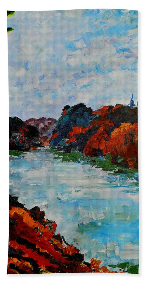 Autumn Bath Sheet featuring the painting Autumn Landscape by Shirley Heyn
