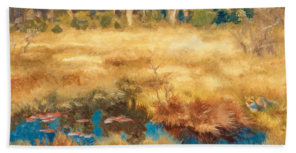 Swedish Art Bath Towel featuring the painting Autumn Landscape With Fox by Bruno Liljefors
