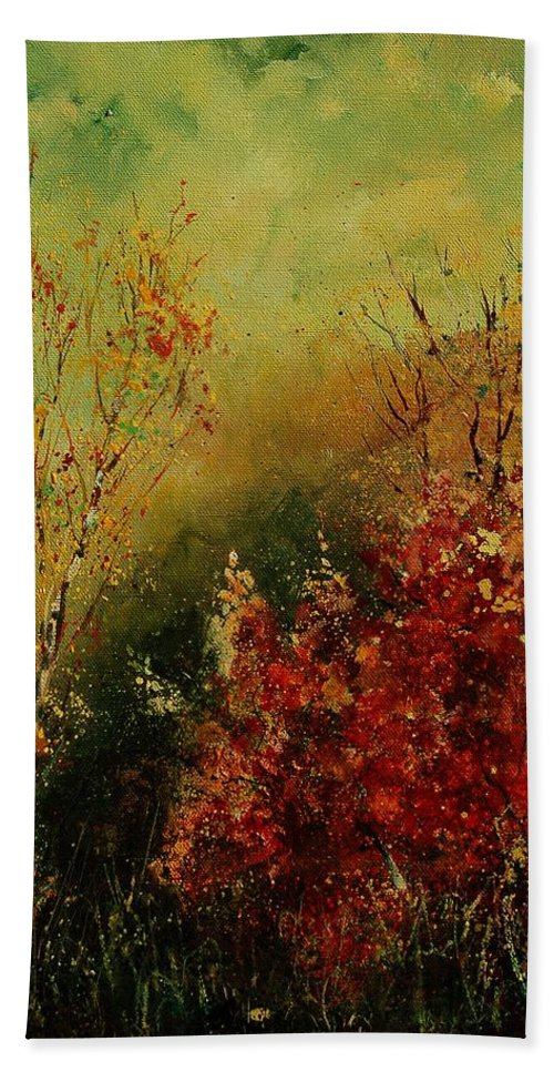Tree Hand Towel featuring the painting Autumn Lanfscape by Pol Ledent