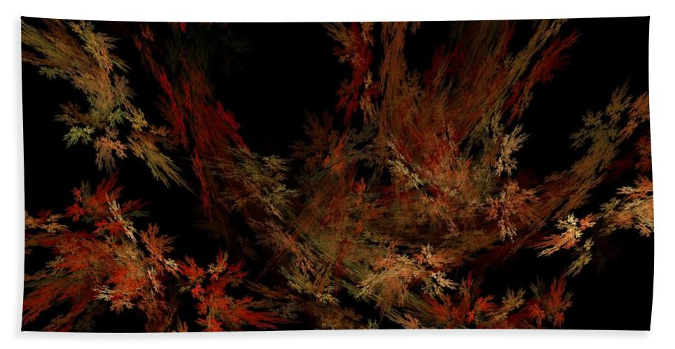 Abstract Digital Painting Hand Towel featuring the digital art Autumn Leaf Dance by David Lane