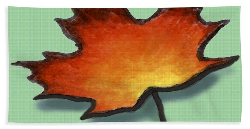Leaf Hand Towel featuring the greeting card Autumn Leaf by Kevin Middleton