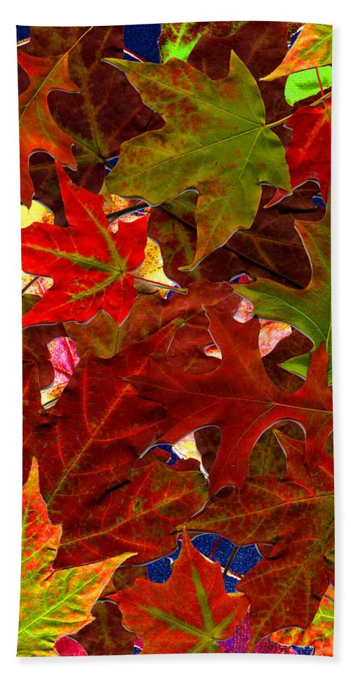 Collage Hand Towel featuring the photograph Autumn Leaves by Nancy Mueller
