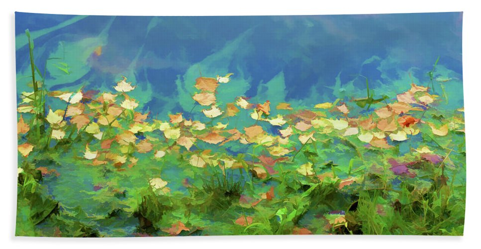 Autumn Leaves On Water Hand Towel featuring the painting Brown Leaves Scattered by Jeelan Clark