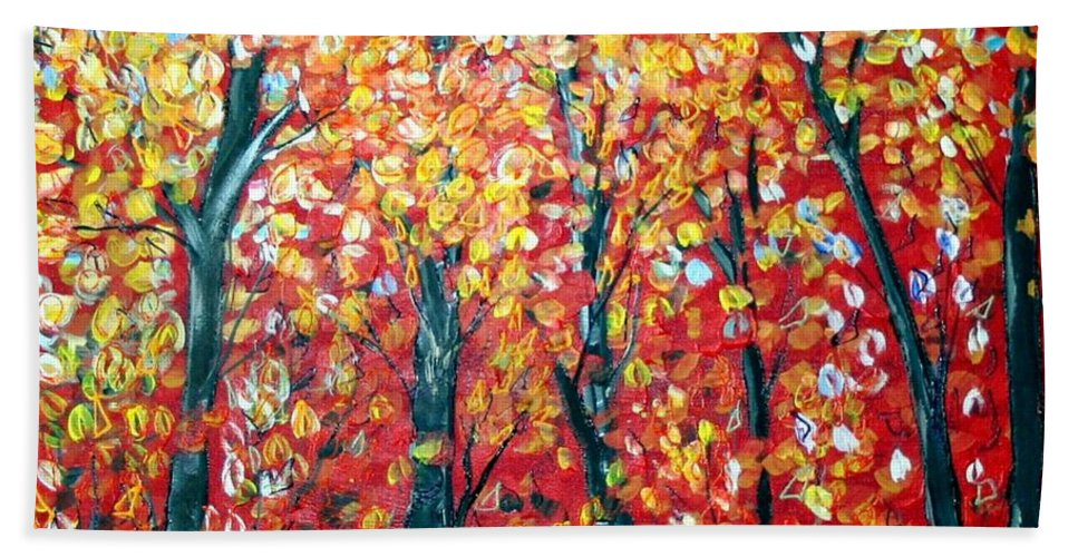 Landscape Bath Towel featuring the painting Autumn by Luiza Vizoli