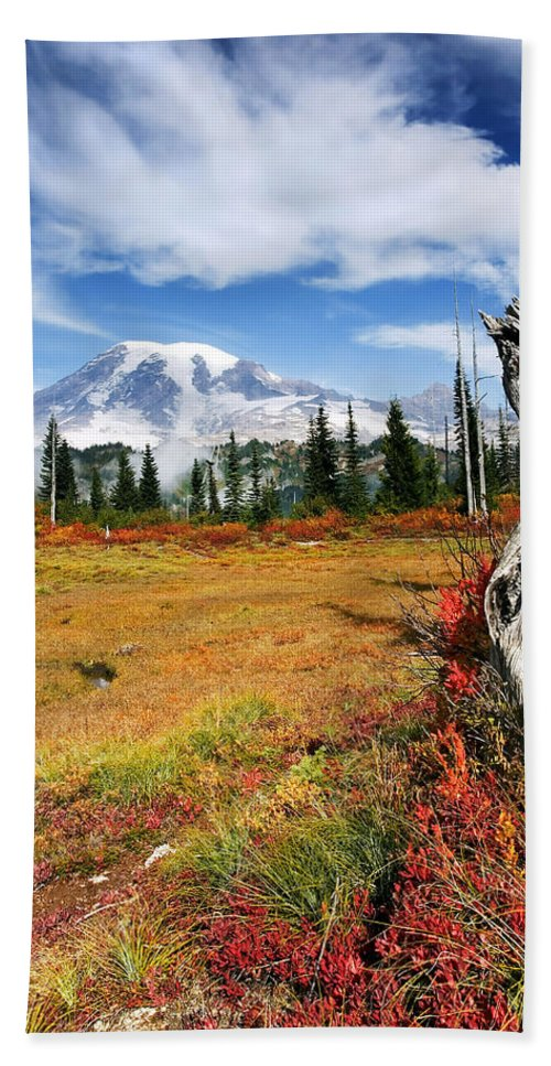 Rainier Bath Towel featuring the photograph Autumn Majesty by Mike Dawson