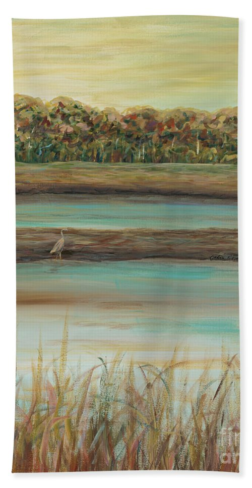 Bird Hand Towel featuring the painting Autumn Marsh and Bird by Nadine Rippelmeyer