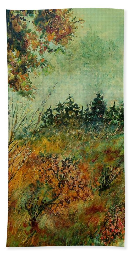 Tree Hand Towel featuring the painting Autumn Mist 68 by Pol Ledent