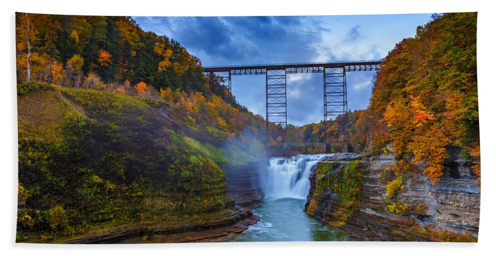 Autumn Hand Towel featuring the photograph Autumn Morning At Upper Falls by Rick Berk