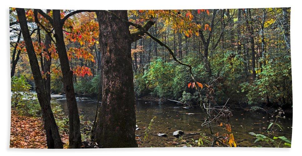 Appalachia Bath Sheet featuring the photograph Autumn Mountains by Debra and Dave Vanderlaan