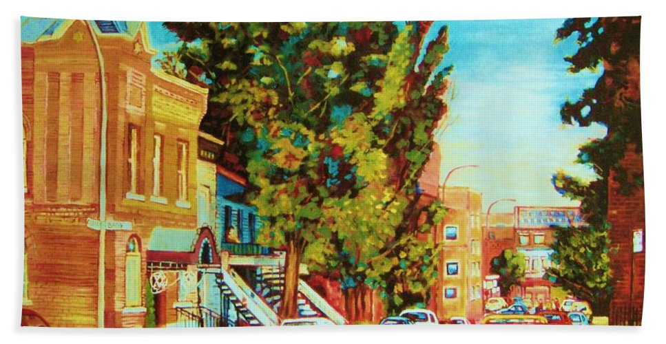 Bagg Street Synagogue Rue Bagg And Clark Bath Towel featuring the painting Autumn On Bagg Street by Carole Spandau