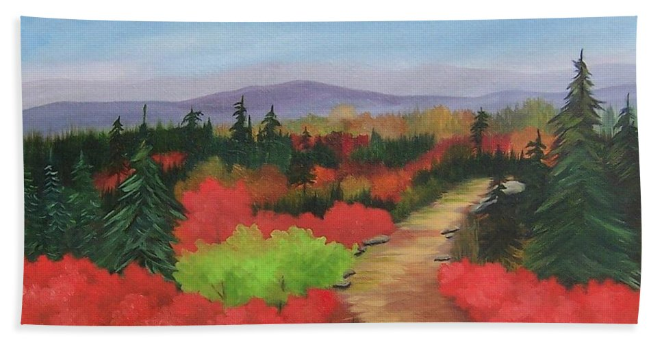 Landscape Bath Sheet featuring the painting Autumn On Dolly Sods by Ruth Housley