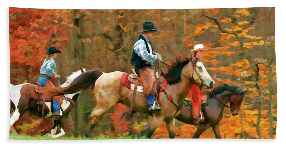 New Jersey Autumn Hand Towel featuring the photograph Autumn On Horseback by Regina Geoghan
