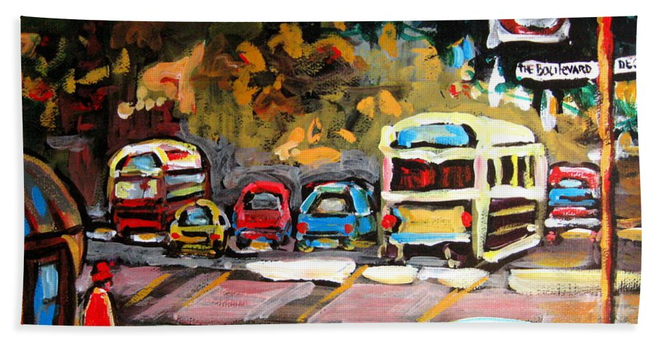 Montreal Bath Towel featuring the painting Autumn On The Boulevard by Carole Spandau